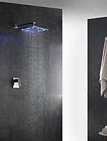 Contemporary Art Deco/Retro Modern Wall Mounted LED Rain Shower Handshower Included with  Brass Valve Single Handle Two Holes for  Chrome