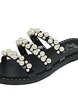 Women's Slippers & Flip-Flops Summer Comfort PU Outdoor Flat Heel Stitching Lace Button Black White Walking