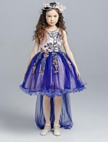 Ball Gown Asymmetrical Flower Girl Dress - Organza Jewel with Appliques Bow(s) Lace Sash / Ribbon