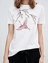 Damen Stickerei Sexy Einfach Street Schick Ausgehen Lässig/Alltäglich T-shirt,Rundhalsausschnitt Sommer Kurzarm Baumwolle Dünn Mittel