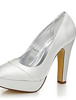 Women's Heels Fall Winter Comfort Dyeable Shoes Silk Wedding Outdoor Office & Career Party & Evening Dress Chunky Heel Ivory