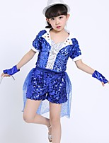 Jazz Outfits Kid's Performance Spandex Sequined 4 Pieces Short Sleeve Natural Top Bracelets Shorts