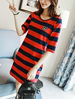Feminino Camiseta Casual SimplesListrado Algodão Decote Redondo Manga Longa
