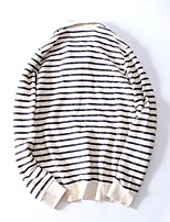 Men's Casual/Daily Sports Going out Active Simple Hoodie Striped Oversized Turtleneck Fleece Lining Micro-elastic Cotton