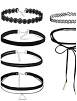 6PCS/Set Women's Choker Necklaces Jewelry Alloy Basic Tattoo Style Vintage Durable Black Jewelry ForHalloween Daily Casual Sports Outdoor Office &