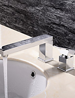 HPB Contemporary Chrome Finish Brass Two Holes Single Handle Sink Faucet