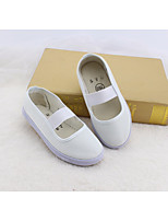 Girls' Flats Spring Fall First Walkers PU Outdoor Casual Low Heel Magic Tape White Walking