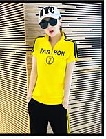 Damen Buchstabe Einfach Aktiv Lässig/Alltäglich Sport T-Shirt-Ärmel Hose Anzüge Frühling Kurzarm