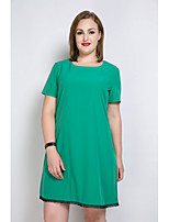Women's Plus Size Casual/Daily Holiday Sexy Simple Cute Loose T Shirt Tunic Dress,Solid Color Block Round Neck Knee-length Short Sleeve