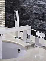 HPB Contemporary Chrome Finish Brass Three Holes Single Handle Sink Faucet