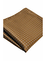YH16  Handmade Men's Pocket Square Handkerchiefs Brown Dots 100% Silk Classic Unique  Jacquard Woven New
