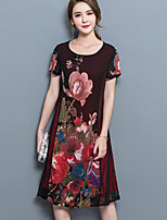 Women's Plus Size Casual/Daily Vintage Loose Dress,Floral Round Neck Knee-length Short Sleeve Nylon Summer Mid Rise Micro-elastic Medium