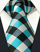 PXL13 Men's Necktie Blue Multicolor Checked 100% Silk Business Fashion Wedding For Men