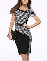 Women's Plus Size Casual/Daily Party Vintage Street chic Slim Hin Thin Grace Sheath DressColor Block Plaid Round Neck Knee-length Short Sleeve