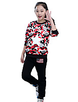 Girls' Going out Casual/Daily Sports Print Patchwork Sets,Cotton Spring Fall Long Sleeve Clothing Set