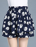 Women's High Rise Above Knee Skirts,Sexy Cute A Line Pleated Layered Print