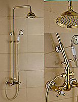Traditional Modern Centerset Rain Shower with  Ceramic Valve Two Handles Three Holes for  Ti-PVD , Shower Faucet