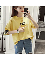 Women's Casual/Daily Simple Summer T-shirt,Print Round Neck Short Sleeve Cotton Thin