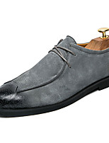 Men's Oxfords Spring Fall Light Soles Leather Casual Walking Flat Heel Split Joint Black Gray Brown
