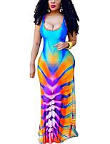 Damen Bodycon Kleid-Party/Cocktail Klub Übergröße Sexy Einfach Street Schick Einfarbig U-Ausschnitt Maxi Ärmellos PolyesterFrühling
