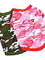 Cães Camiseta Roupas para Cães Verão Desenhos Animados Fofo Da Moda Casual Rosa claro Cor camuflagem