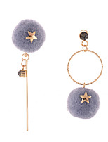 Lureme Women's Asymmetric Design Gold Circle with Crystal Star Pom Pom Earrings Dangle