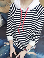 Men's Casual/Daily Hoodie Solid Striped Round Neck strenchy Cotton Long Sleeve