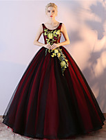 Formal Evening Dress Ball Gown Scoop Floor-length Tulle Satin Chiffon with Embroidery