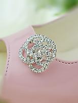 Vintage Flower Crystal Detachable Decorative Accents Plastic Shoe Clip Anywhere 1 Pair