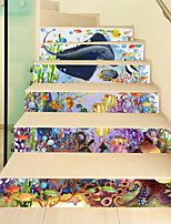 6pcs per Set Staircase Stickers  Animals Wall Stickers 3D Wall Stickers Decorative Wall StickersVinyl Material Home Decoration Wall Decal