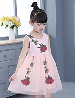 Girl's Casual/Daily Holiday Solid Floral Dress,Cotton Polyester Summer Sleeveless
