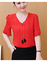 Women's Going out Casual/Daily Holiday Vintage Simple Summer Blouse,Solid V Neck Short Sleeve Others Thin