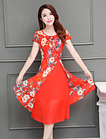 Women's Plus Size Casual/Daily Vintage A Line Dress,Floral Round Neck Midi Short Sleeve Polyester Summer Mid Rise Inelastic Medium