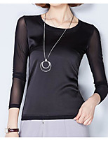 Для женщин На каждый день Блуза Круглый вырез,Простое Однотонный Длинный рукав,Хлопок