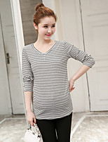 Women's Casual/Daily Simple T-shirt,Striped V Neck Long Sleeve Cotton Thin