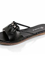 Women's Slippers & Flip-Flops Summer Comfort PU Outdoor Flat Heel Black White Walking