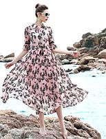 Для женщин На выход На каждый день Вечеринка/коктейль Свободный силуэт Платье С принтом,Круглый вырез Средней длины Рукав ½ Полиэстер