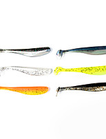 12 pcs Soft Bait Fishing Lures Soft Bait Shad Black Orange Yellow Gray DarkNavy Silver g/Ounce mm/2-3/4