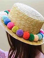 Girl's Lovely Fashionable Chromosphere Straw Flat-Topped Hat Outdoor Sunscreen Straw Jats