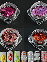 4Bottle/set New Fashion Sweet Style Nail Art Laser Stripe Rhombus Design Glitter Thin Slice DIY Beauty Dazzling Paillette Decoration LW1and6and7and11