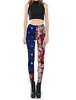 Mujer Sexy Adorable Tiro Medio Microelástico Chinos Pantalones,Pitillo Estampado Color puro