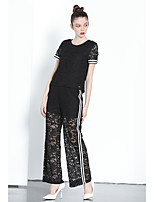 ZIYI Women's Casual/Daily Simple T-shirt Pant SuitsSolid Round Neck Long Pant Lace Micro-elastic