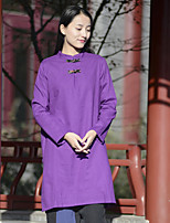 Women's Casual/Daily Simple Shirt,Solid Stand Long Sleeve Polyester Nylon