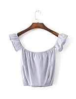 Women's Holiday Simple Summer Blouse,Solid Round Neck Sleeveless Acrylic Medium