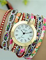 Mulheres Relógio de Moda Bracele Relógio Quartzo PU Banda Flor Preta Branco Azul Vermelho Verde Rose