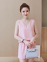 Women's Casual/Daily Simple Summer Blouse Pant Suits,Solid V Neck Sleeveless Chiffon Polyester