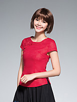 Women's Casual/Daily Simple Shirt,Solid Round Neck Short Sleeve Linen