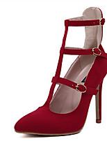 Femme-Décontracté-Noir RougeA Bride Arrière-Chaussures à Talons-Polyuréthane