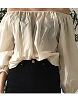 Для женщин На выход Рубашка Вырез лодочкой,Простое Однотонный Длинный рукав,Другое