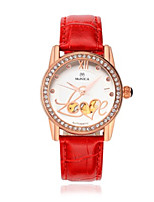Women's Fashion Watch Quartz Leather Band Black White Red